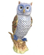 Herend Porcelain Figurine of a Watchful Owl